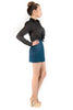 Blue and Black Houndstooth High Waisted Skirt