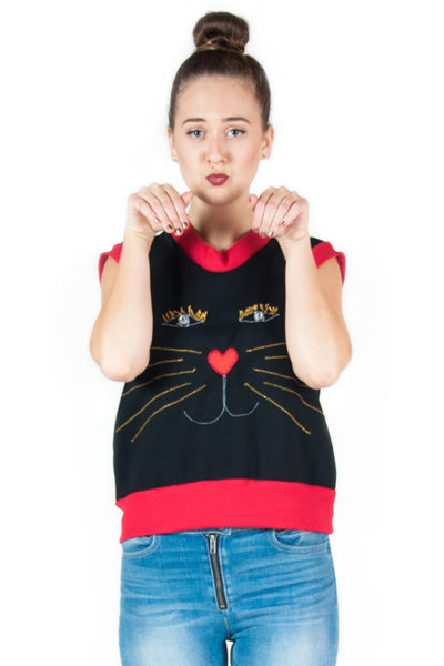 Sleeveless Cat Face Sweater