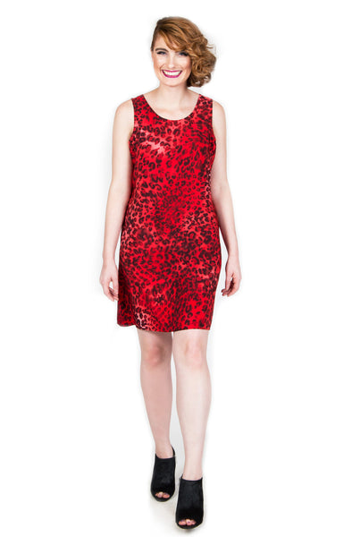 Red Leopard Shift Dress