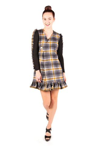 Plaid Ruffled Long Sleeve Wrap Dress