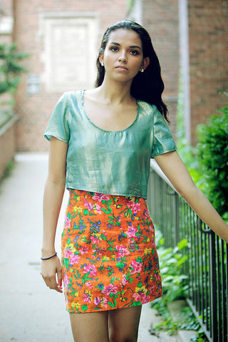 Rainbow Floral High Waisted Skirt
