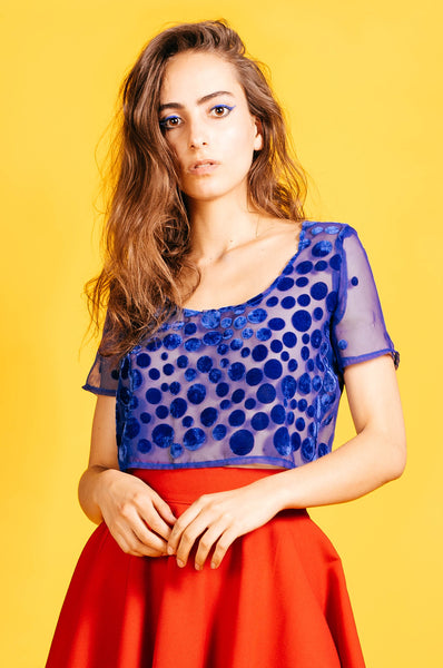 Sheer Blue with Velour Polka Dots Crop Top