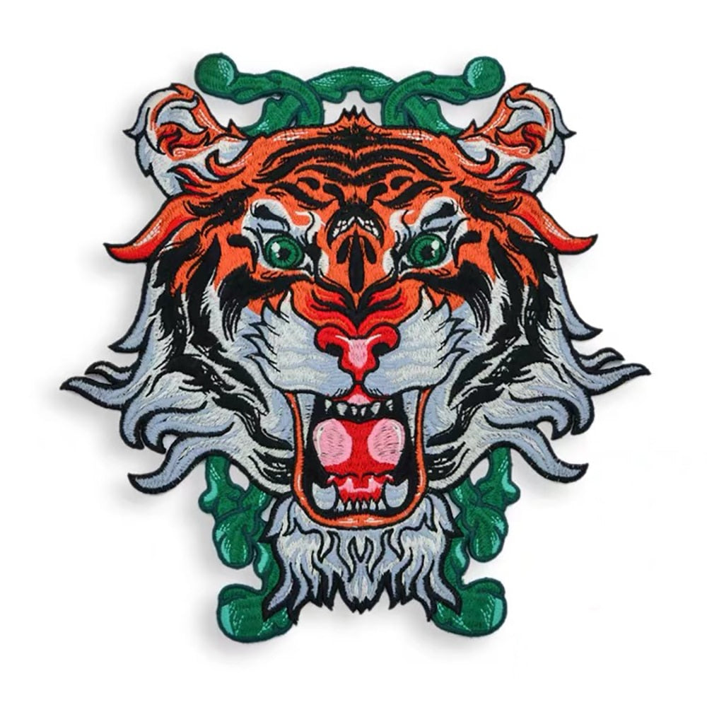 Tiger Face Embroidery Applique Patch