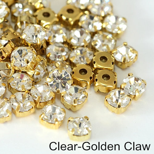 Sew On Rhinestones With Gold Claw