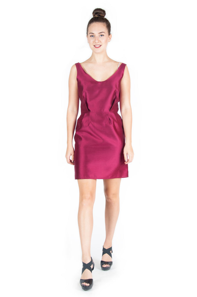 Tailored Burgundy Cocktail Dress