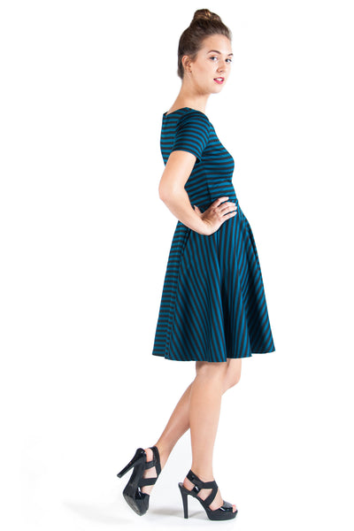 Black and Blue Striped Dress