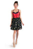 Red and Black with Multicolored Floral Cocktail Dress