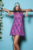 Purple and Pink Abstract Print Shift Dress
