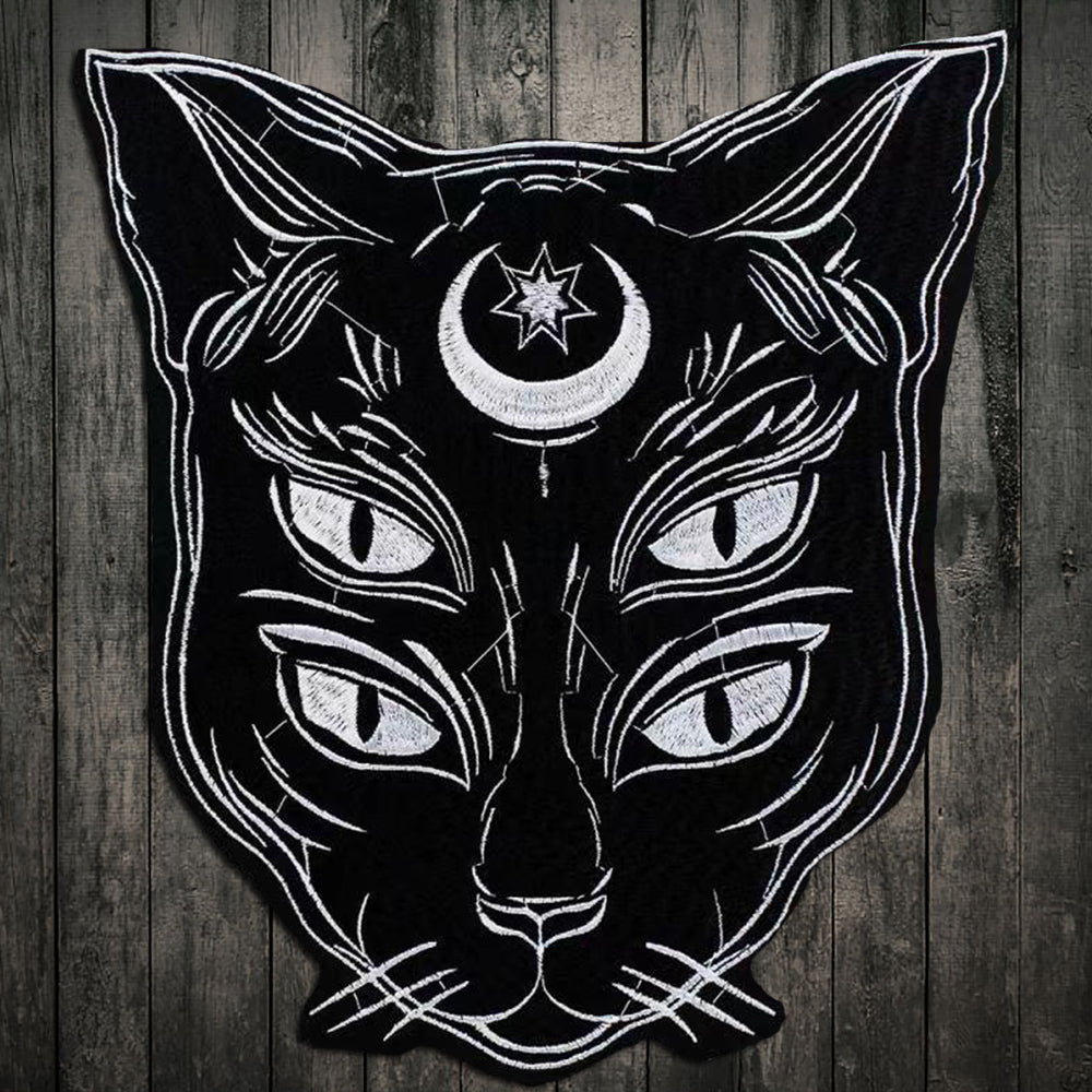 Black Moon Cat Embroidery Patch