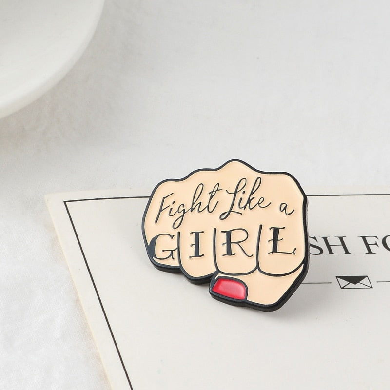 Fight like a girl Fist Enamel Pin