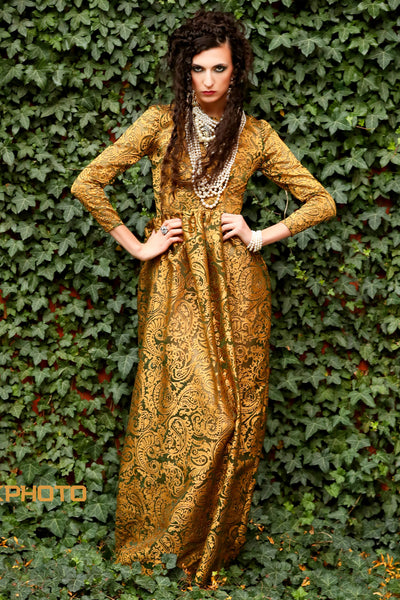 Gold Brocade Organza Gown