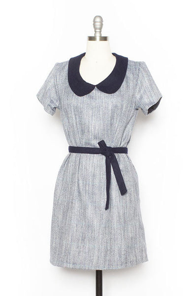 Collared Herringbone Wool Shift Dress