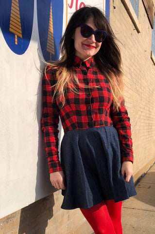 Longsleeve Buffalo Plaid Shirtdress - ONLY 2 LEFT
