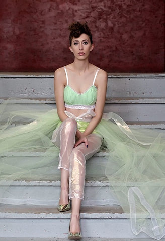 Tie-up Tulle Skirt with Transparent Pants