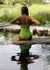 High-Waisted Two Piece Neon Green Swimsuit Top