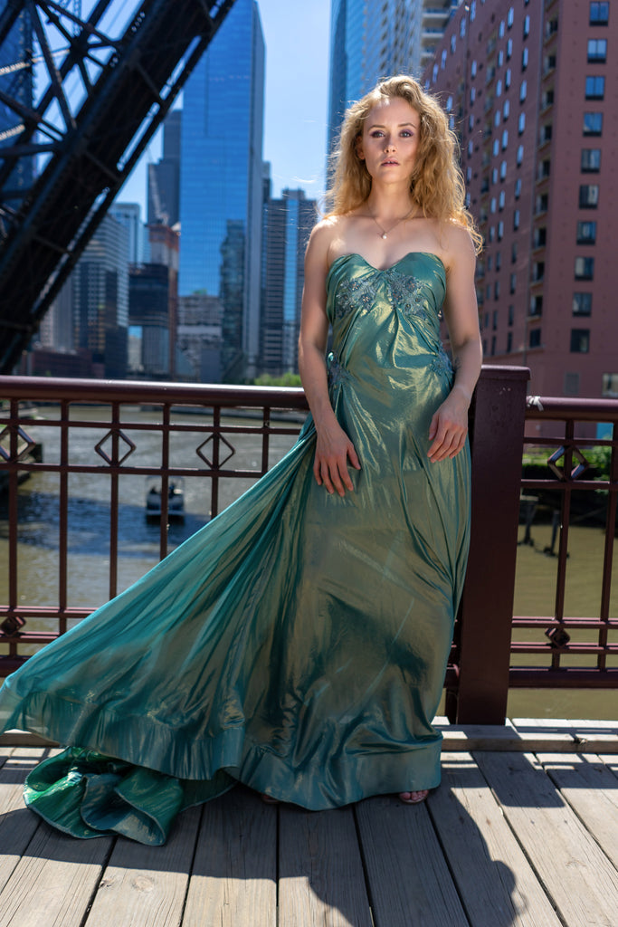Iridescent Gathered Satin Gown