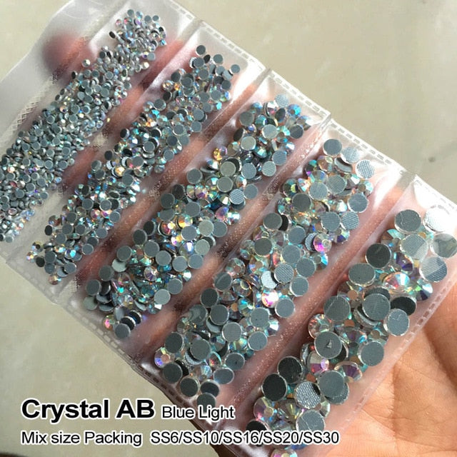 Mix size Rhinestones Hot fix Crystal AB 1200 pcs