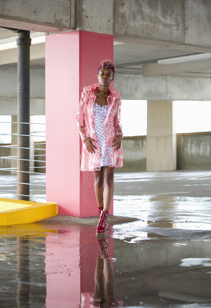 Pink Clear Floral Rain Coat