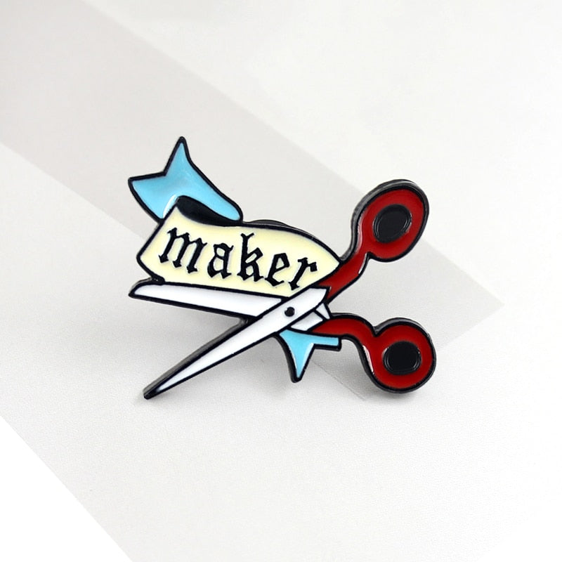 Red Scissors Maker Pin