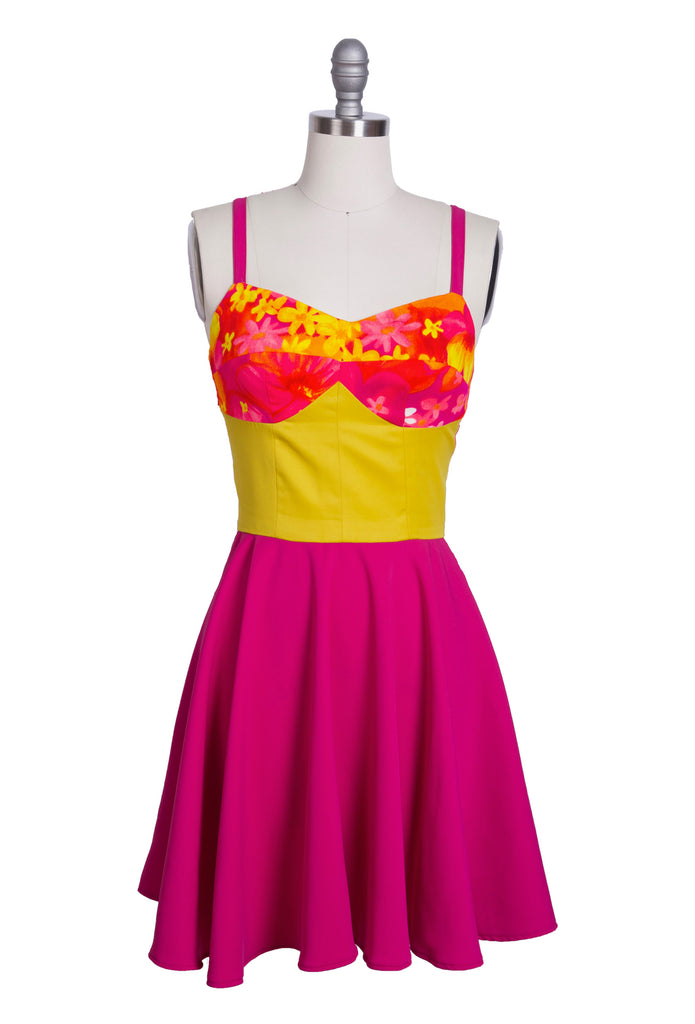 Floral Yellow Magenta Dress
