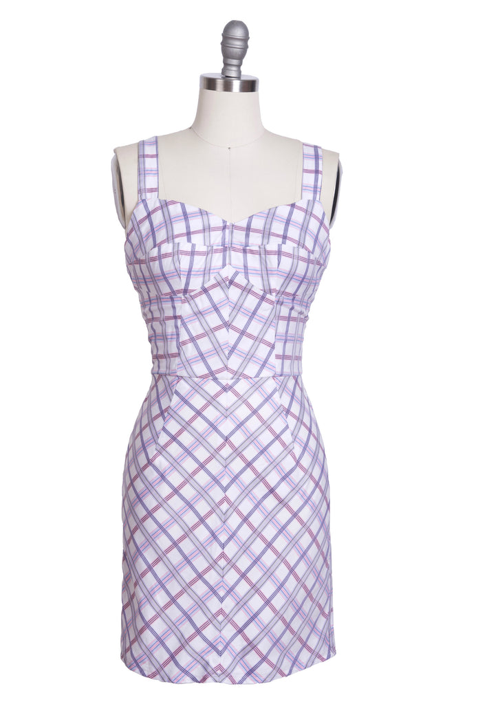 Pink Purple and White Plaid Dress