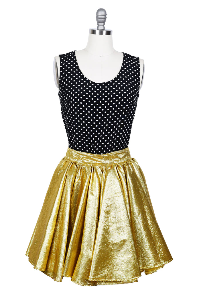 Gathered Metallic Gold Stretch Mini Skirt