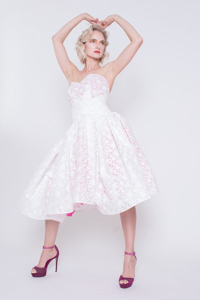 91ad94dffdeb ... White Lace Dress With Hot Pink Stain ...
