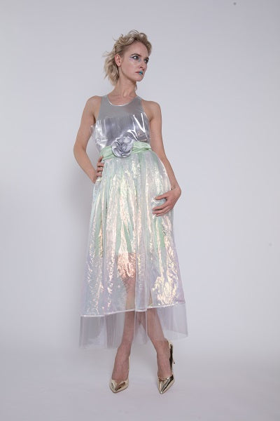 16780b62058 Silver and Iridescent Green Cocktail Dress