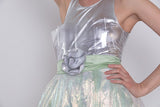 Silver and Iridescent Green Cocktail Dress