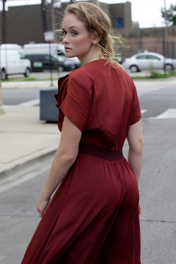 Vintage Burgundy Flounce Dress
