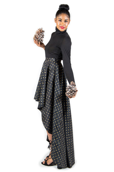 Polka Dot Hi-Low Maxi Skirt