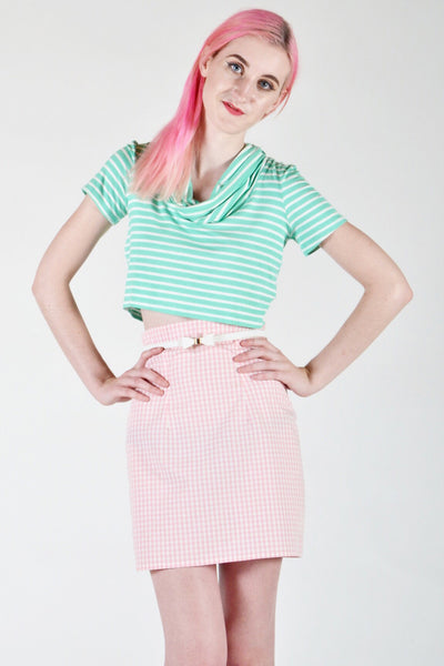 Gingham High Waisted Mini Skirt