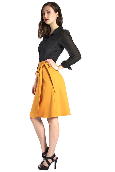 Mustard Yellow Wrap Skirt