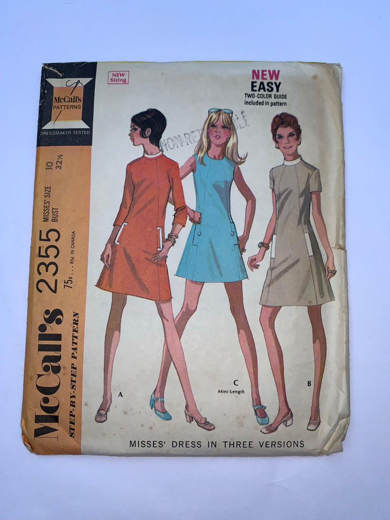 Vintage 60s mod dress sewing pattern McCalls 2355
