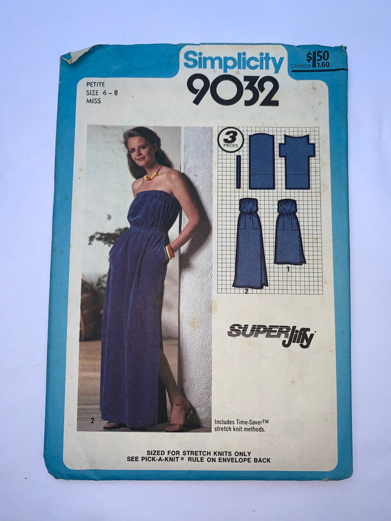 Vintage maxi dress sewing pattern Simplicity 9032