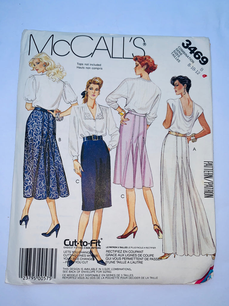 Vintage skirt sewing pattern McCalls 3469