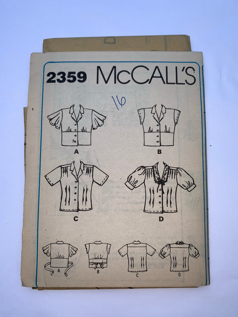 Vintage shirt sewing pattern McCalls 2359