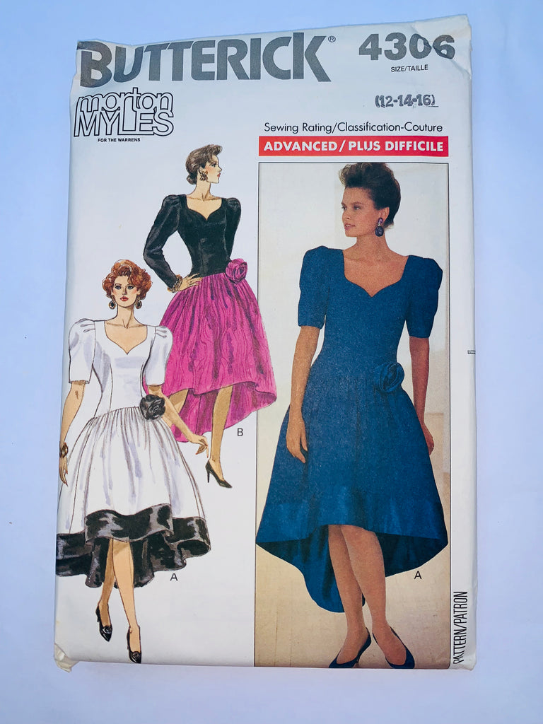 Vintage 80s gown sewing pattern Butterick 4306