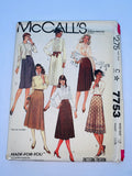 Vintage skirt sewing pattern McCalls 7753