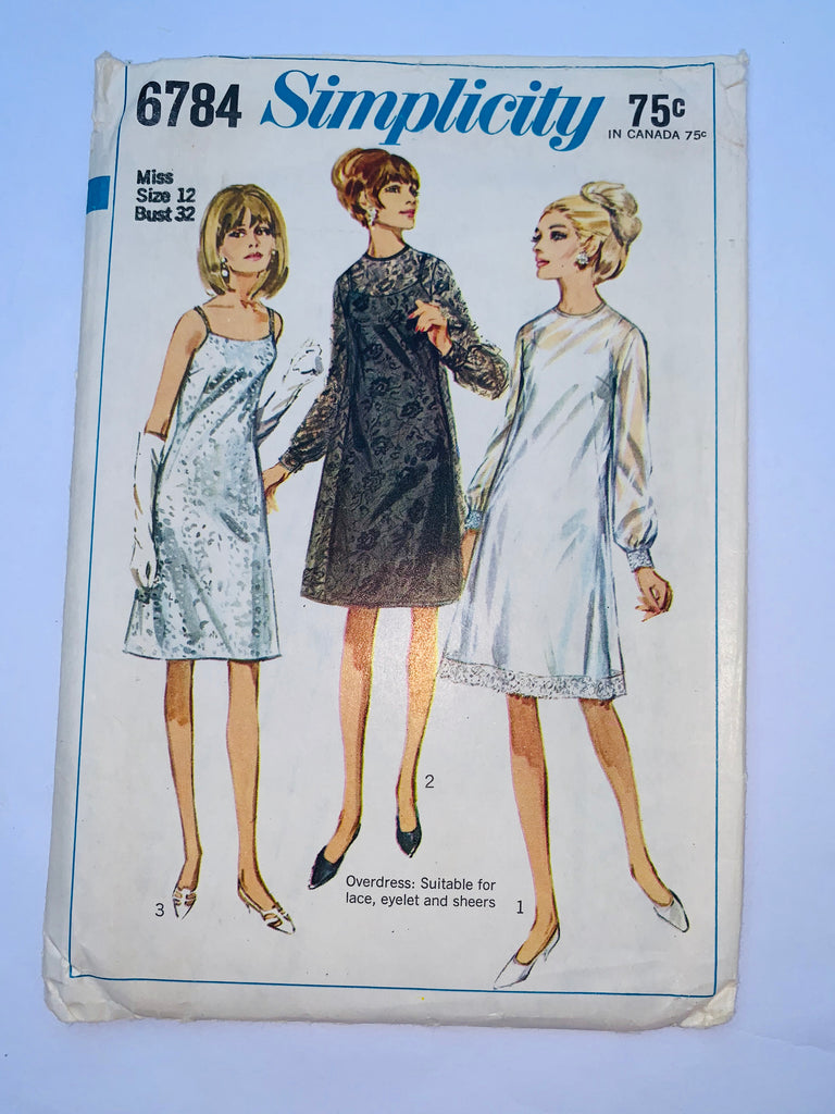 Vintage 60s dress sewing pattern Simplicity 6784