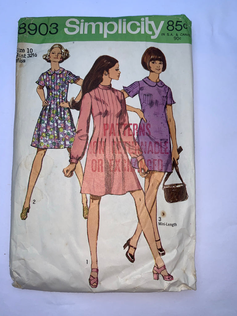 Vintage dress sewing pattern 1960s Simplicity 8903