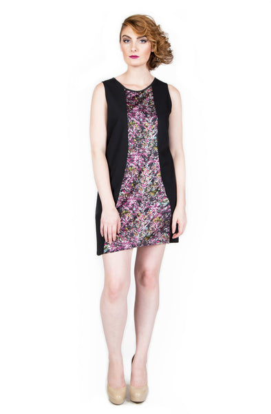Black with Multicolored Abstract Panel Shift Dress