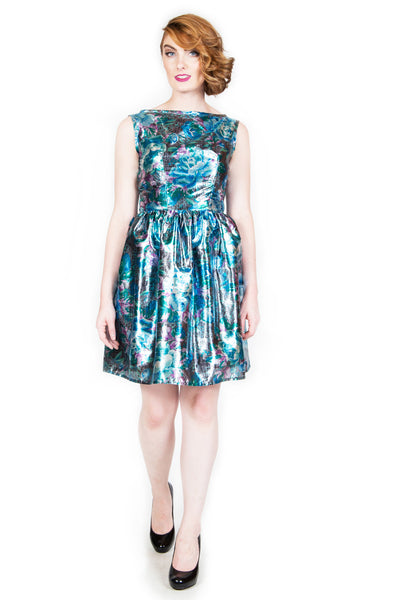 Floral Tissue Lame Cocktail Dress