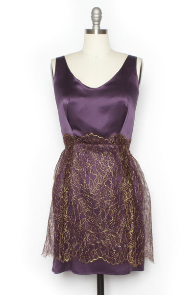 Tailored Purple Silk with Gold Overlay Cocktail Dress