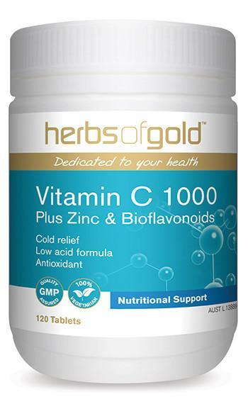 HERBS OF GOLD VITAMIN C 1000 PLUS ZINC & BIOFLAVONOIDS
