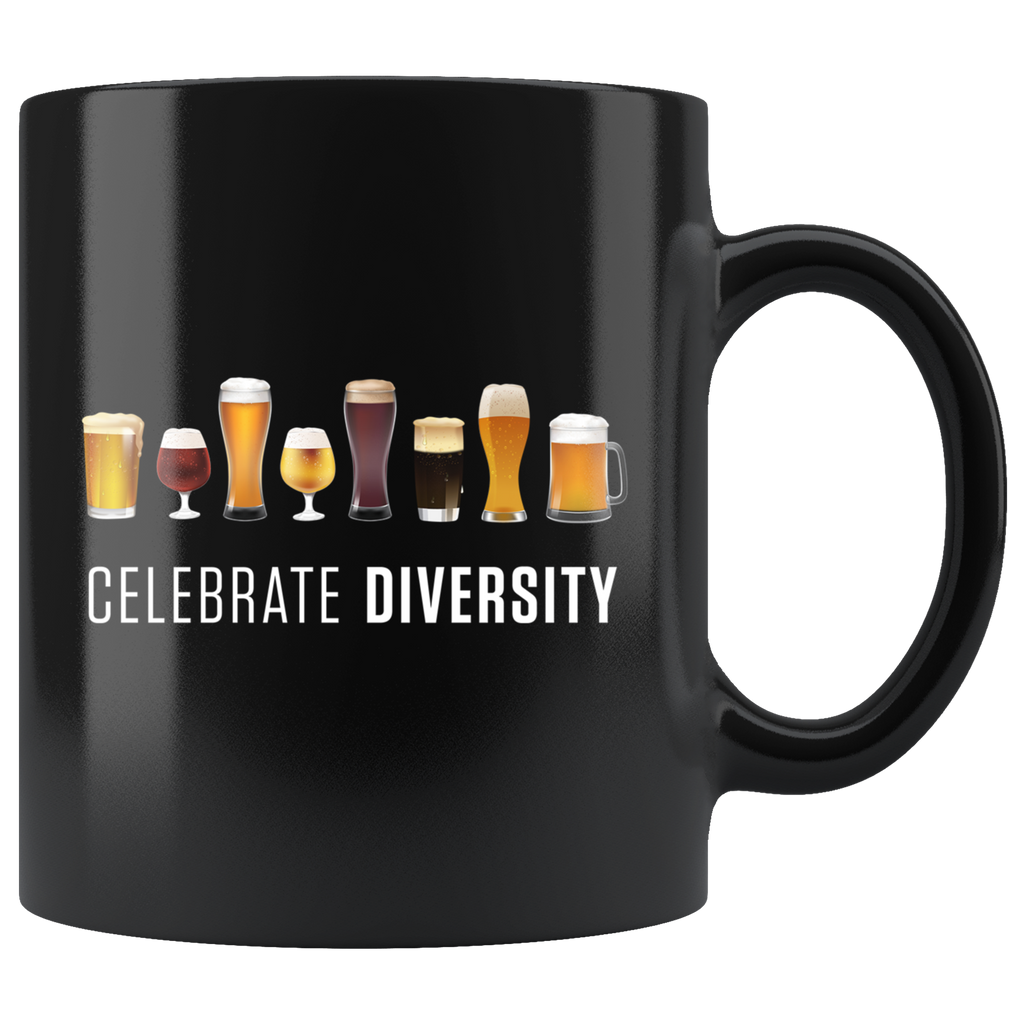 Celebrate Diversity (Beers) 11oz Black Mug