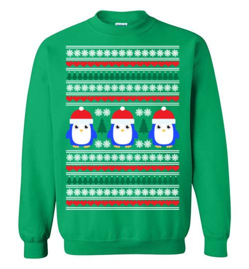 ugly christmas sweater penguin motif