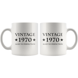 Vintage 1970 Aged To Perfection White Mug