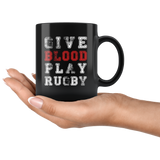 Give Blood Play Rugby 11oz Black Mug