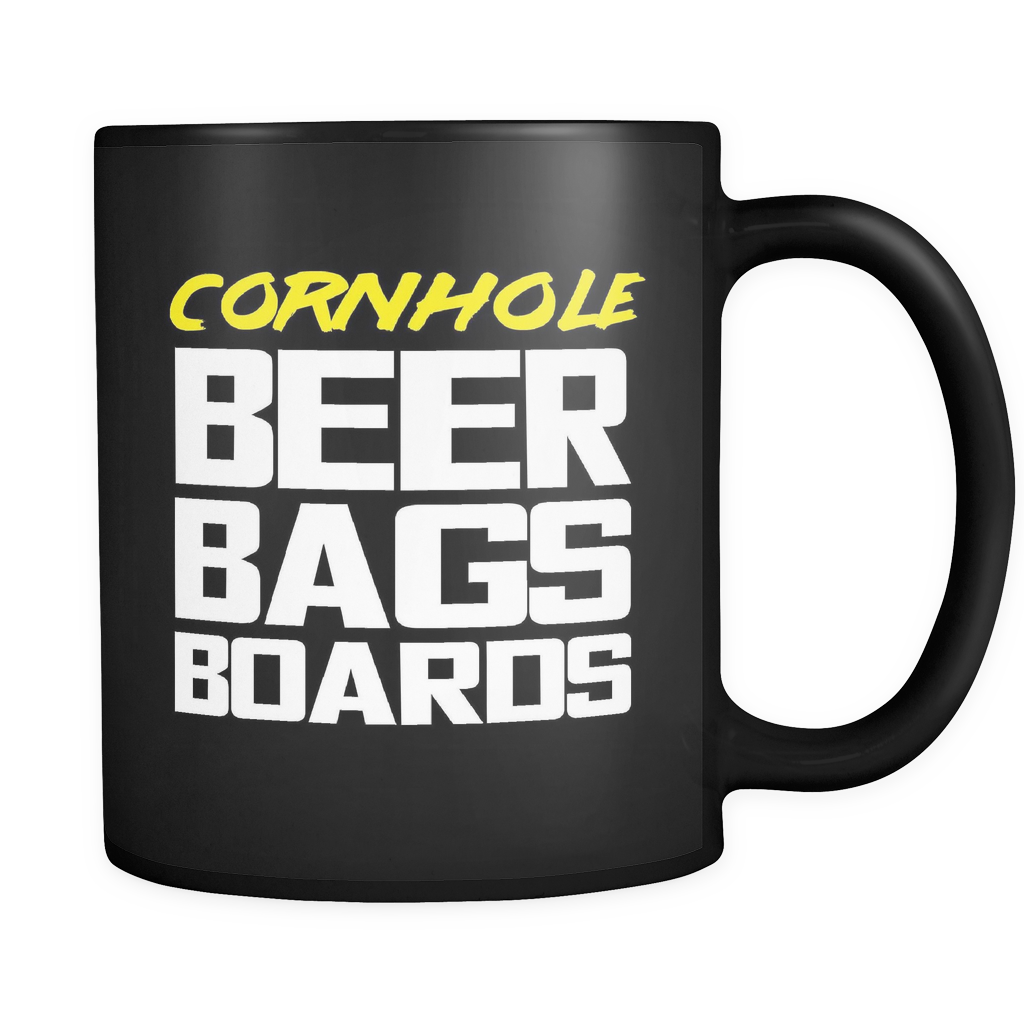 Cornhole Beer Bags Boards Black Mug